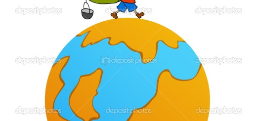 Cartoon travel man with backpack around world stock vector